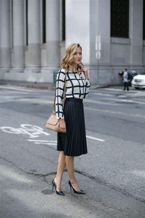 windowpane blouse  pleated midi skirt memorandum