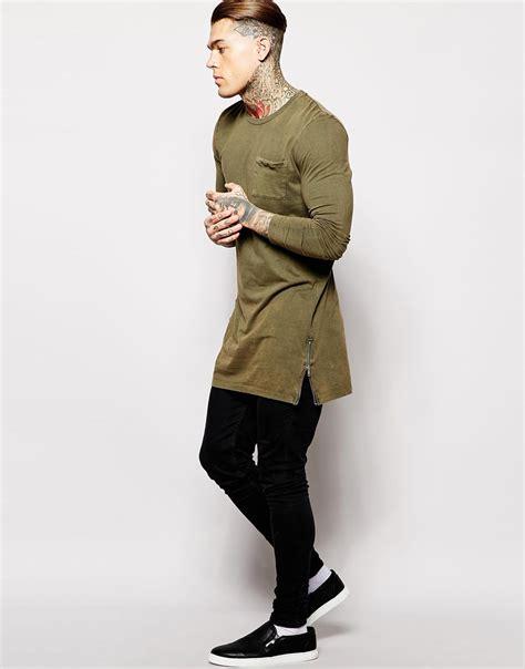 Asos Longline T Shirt lyst asos longline sleeve t shirt in acid