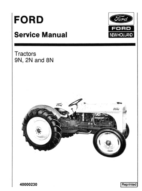 Ford 2N, 8N, 9N Tractor Service Manual   Tractors, Ford