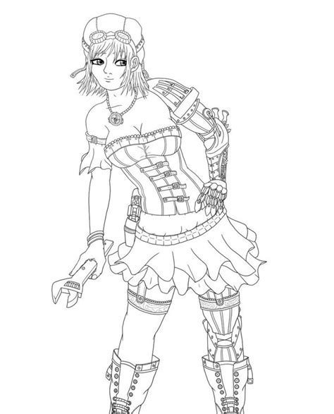 Steam Punk Lady With Wrench Colouring Pictures Pinterest Pin Up Coloring Pages Free