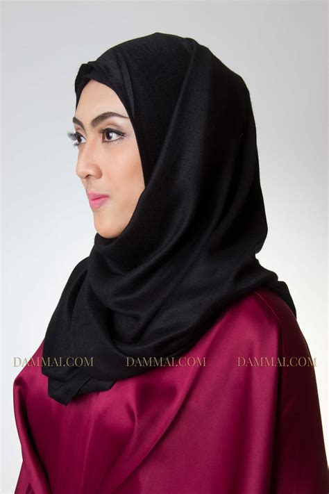 Gamis Muslim Aresya Dress black pashmina dammai