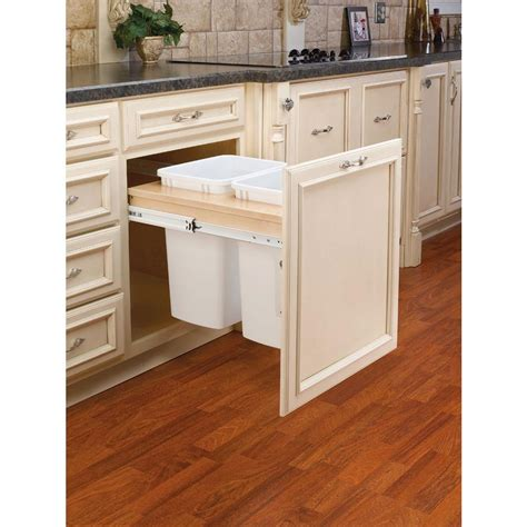 double 35 qt top mount wood pull out trash containers rev rev a shelf 17 875 in h x 20 75 in w x 24 5 in d double