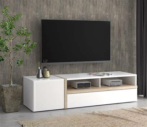 meuble chene clair 2869 meuble tv bianko blanc brillant chene clair