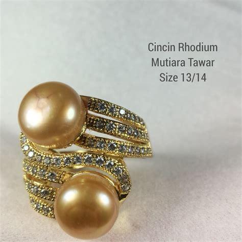 Set Gelang Cincin Rhodium Mutiara Tawar cincin mutiara coklat asli murah bahan rhodium model perhiasan terbaru khas lombok kode crt475