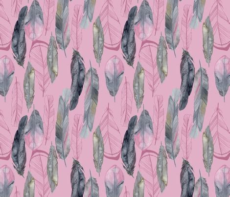 three feathers in blush teal boho feathers blush giftwrap katebillingsley spoonflower