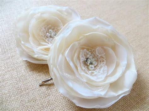 Bridal Flower Hair Clip Set ivory wedding bridal flower hair set of 2