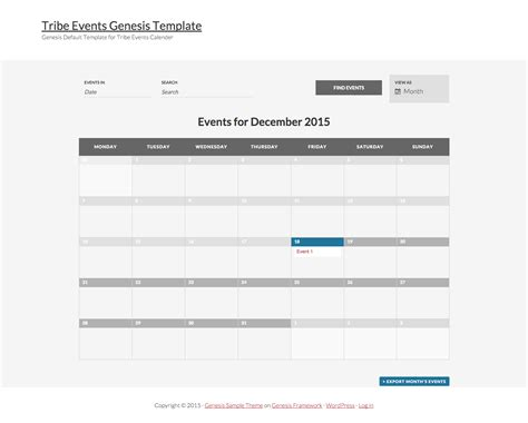 tribe events calender template for genesis