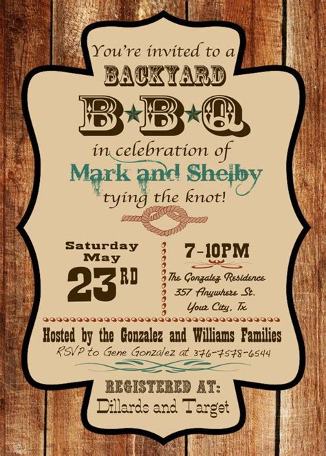 backyard bbq wedding invitations western barn wood backyard bbq invitation custom