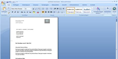 Word Vorlage Standardbrief word den perfekten brief gestalten mit microsoft office