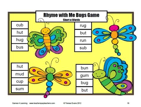 printable digraph games rhyme with me board game short vowel cvc board games by