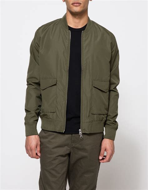 Jaket Bomber Original Olive Thunder 1 topman olive bomber jacket in green for lyst