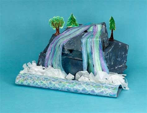 How To Make A River Out Of Paper - shimmering waterfall crayola