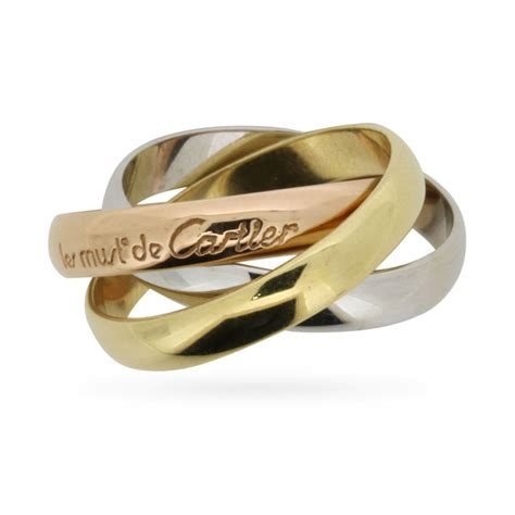 cartier three colour gold wedding band russian style