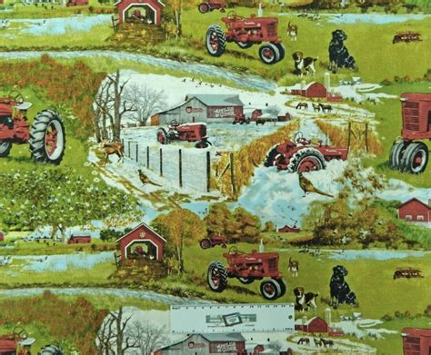 Patchwork Farm - patchwork quilting fabric farmall farm tractor sewing