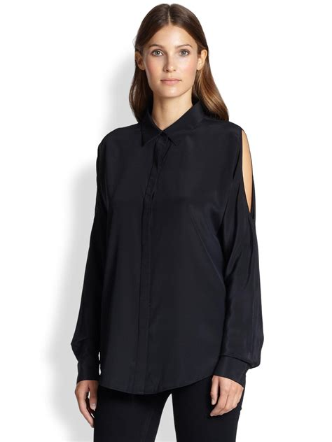 Back Rp 12500 N Black Blouse With Lace lyst dkny silk cold shoulder blouse in black
