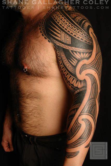 shane tattoos half maori half polynesian sleeve tattoo