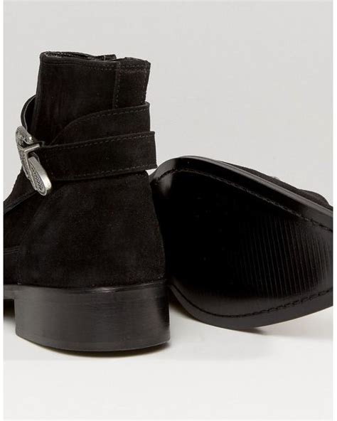 asos chelsea boots in black suede with detail in
