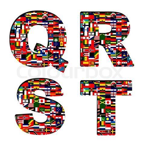 flags of the world lettering national flags of font stock photo colourbox