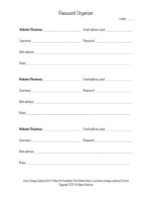 free printable office organizer 6 best images of password keeper printable form free