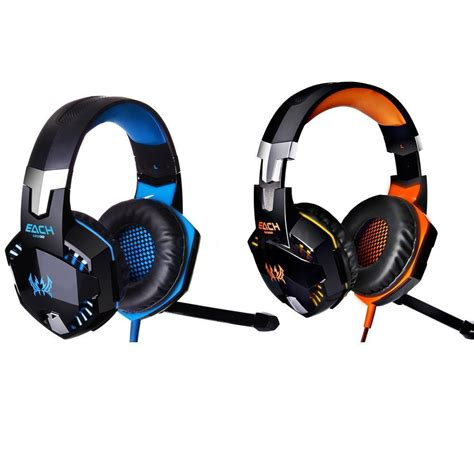 Headset Gaming each g2000 stereo gaming headphone headset headband mic led light for pc ebay