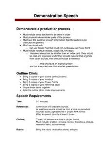 demonstration speech outline template demonstration speech outline on food