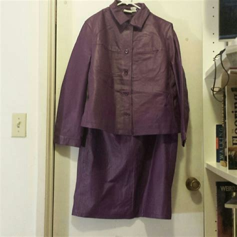 newport news 16w purple leather skirt suit from cathy s