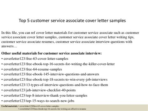 customer service associate cover letter top 5 customer service associate cover letter sles