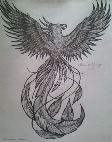 phoenix tattoo ink grey ink phoenix tattoo design by nightsqueen
