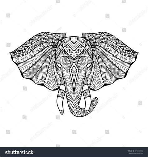 unique elephant coloring pages drawing unique ethnic elephant head print stock vector