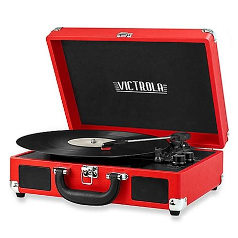 bed bath and beyond turntable victrola retro record player stereo with bluetooth 174 in red
