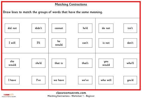 matching ks1 spag practice classroom secrets