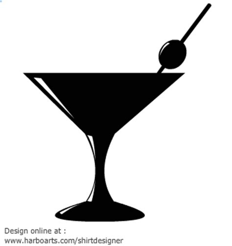 martini silhouette cocktails cliparts