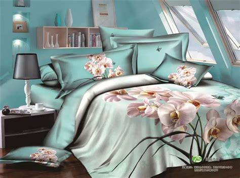 orchid comforter 3d butterfly and orchid pale turquoise bedding set queen