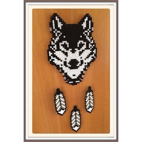 perler bead wolf wolf dreamcatcher hama by gittejulie hama