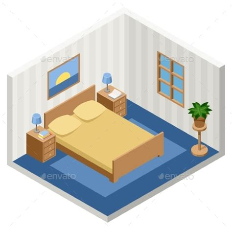 isometric view of bedroom interior of an isometric bedroom with furniture by gurzzza