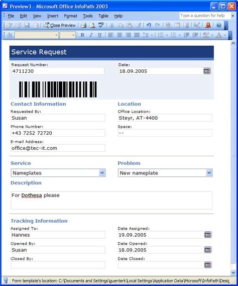 bar coding functionality for office applications barcode