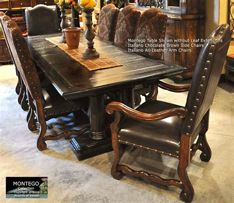 Brown Leather Dining Room Arm Chairs Montego Extension Dining Room Table Seats Up To 12