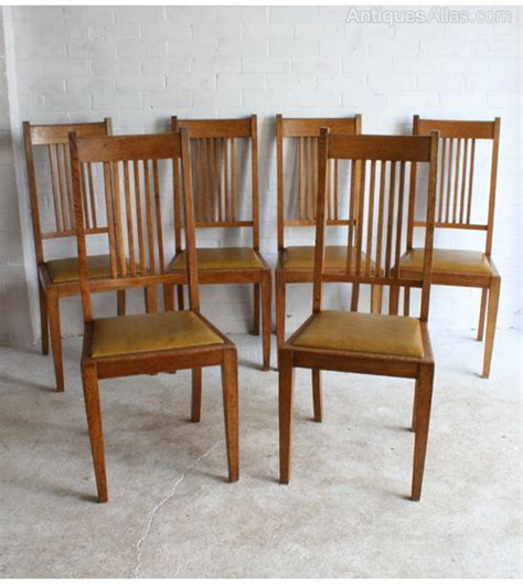 Arts And Crafts Dining Chairs Six Arts Crafts Oak Dining Chairs Antiques Atlas