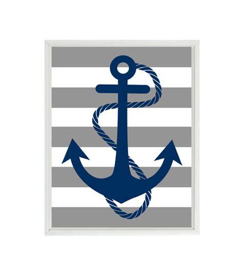 printable anchor wall art anchor art print navy blue gray stripes nautical nursery