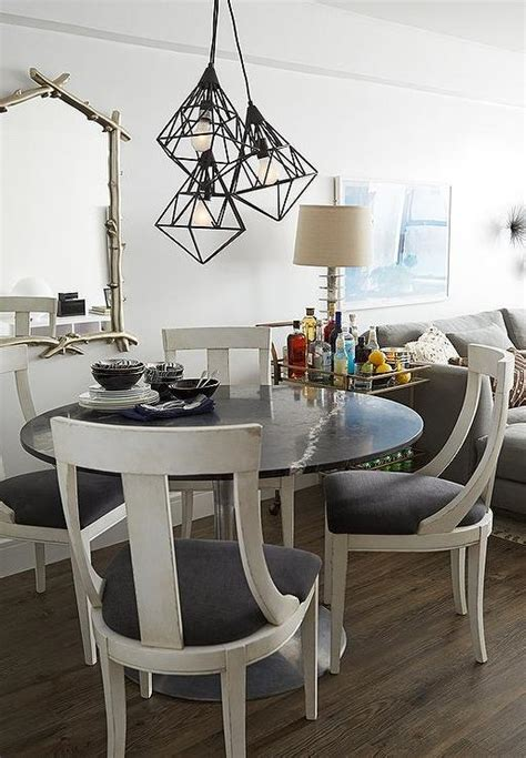 Black and White Dining Room with White Parsons Dining