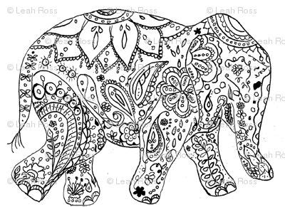 mosaic elephant coloring page adult coloring pages dr odd