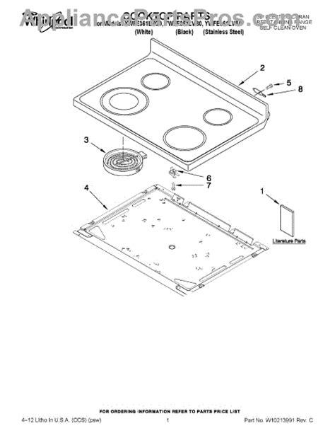 whirlpool cooktop parts whirlpool w10245805 cooktop blk appliancepartspros