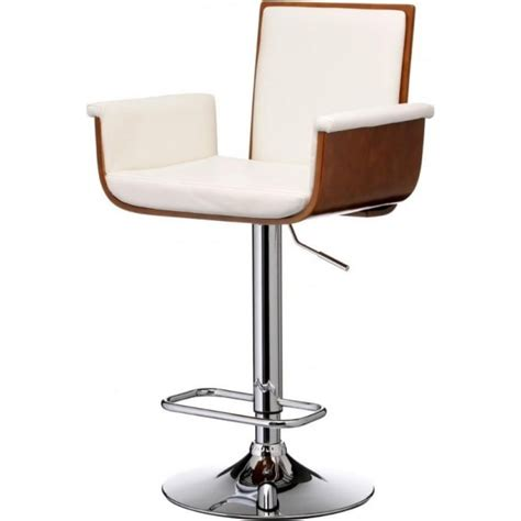 buy walnut wood and white faux leather bar stool
