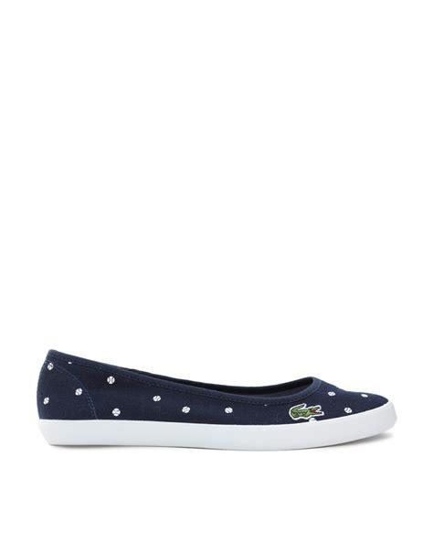 lacoste flat shoes lacoste marthe ballerina blue spot flat shoes in blue