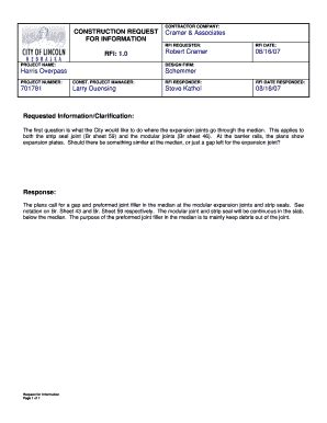 Sle Of Construction Rfi Fill Online Printable Fillable Blank Pdffiller Construction Rfi Template