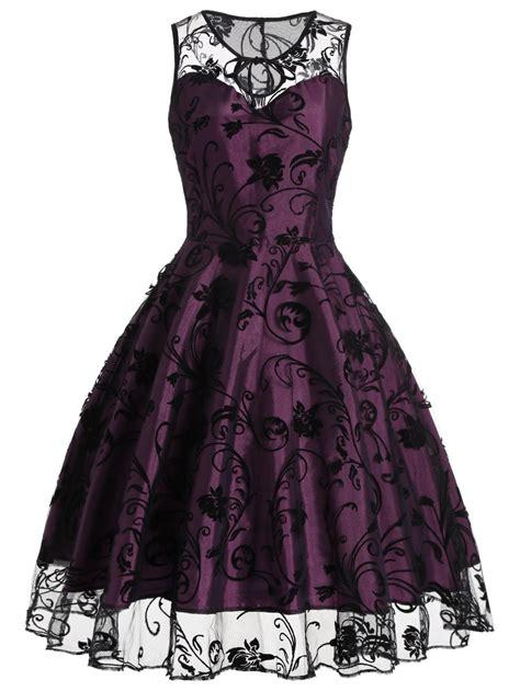 Vintage Dresses Purplish Red S Floral Tulle Sleeveless Vintage Dress Gamiss