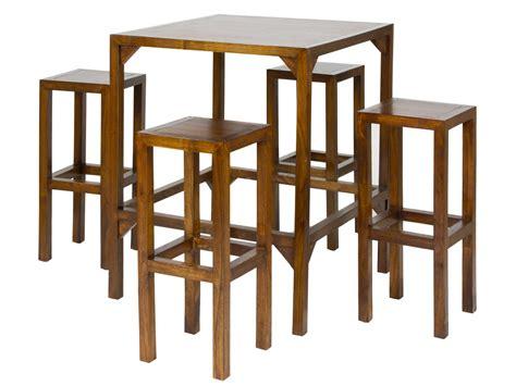 mesa alta con taburetes mesa alta con taburetes en madera de acacia de color nogal