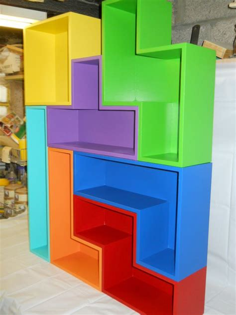 wooden tetris shelves built from various stackable block