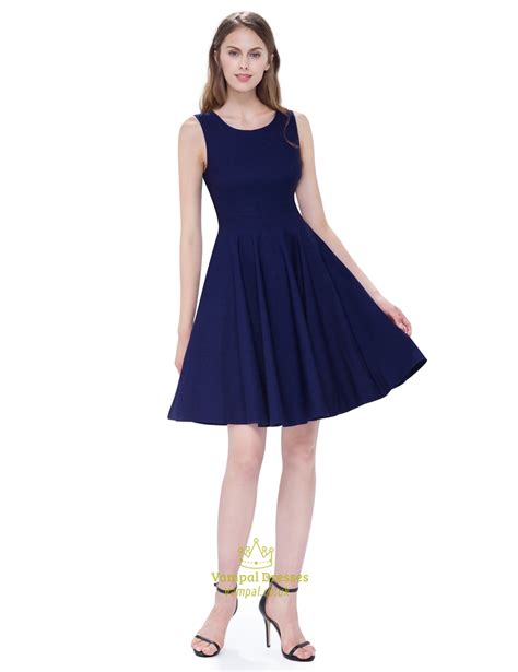 Dress Flare vintage navy blue scoop neck sleeveless fit and flare