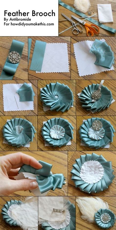 Handmade Rosettes - ribbon rosette diy brooch with feather rosettes award